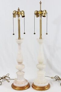 Marbro Vintage Carved Italian Alabaster Neoclassical Column Table Lamps Pair