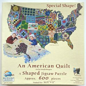 An American Quilt Jigsaw Puzzle USA Map Shaped Sunsout 600 Pieces America US map