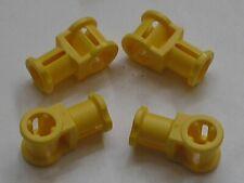 4 x LEGO TECHNIC Yellow Connector with Axlehole 32039 / Set 4957 8070 8053 8421