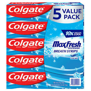 Colgate MaxFresh Toothpaste, Cool Mint (7.6 oz., 5 pk.) Free Shipping