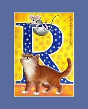 Alphabet Cat ACEO Print Letter R by I Garmashova
