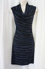 Studio M Dress Sz XS Black Cobalt Blue Sleeveless Striped Casual Party Dress