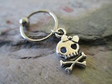 Silver Skull Cartilage Piercing Captive Ring Tragus Earring 14 Gauge 1/2""