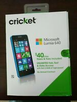 "Microsoft Windows Lumia 640 LTE Black 8GB 5"" RM-1073 (Cricket LOCKED) Cyan Blue"