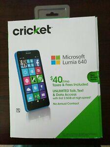 "Microsoft Windows Lumia 640 LTE Black 8GB 5"" RM-1073 (Cricket LOCKED) Cyan Blue"