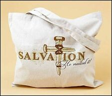 """Religious Gift He Nailed It Cross Design 14"""" Canvas Tote Bag NEW SKU PS761"""
