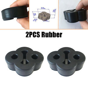 2x Black 2Holes for Car Rubber Exhaust Tail Pipe Mount Bracket Hanger Insulator