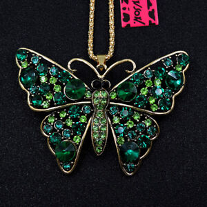 Betsey Johnson Lovely Butterfly Rhinestone Pendant Sweater Chain Necklace