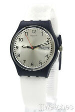 New Swiss Swatch White Delight Day Date White Silicone Band Watch 35mm GN720