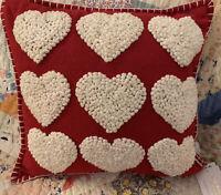 "Isaac Mizrahi Wool Felt Red Heart French Knots Square Pillow 18"" Stitch Trim New"