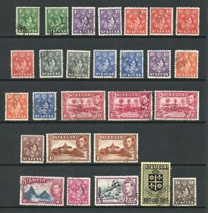 ST LUCIA GVI 1938 SET COMPLETE INCLUDING ALL PERF VARIETIES / SHADES. FINE USED