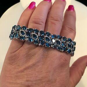 Victoria Wieck Sterling Silver London Blue Topaz & Round White Topaz Bracelet