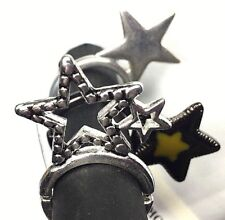 Fashion Costume Jewelry 3 Piece Set Rings Stars Silver Black One SZ Fits All New