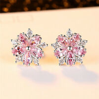 Cute 925 Silver Pink Topaz Cross CZ Sakura Flower Stud Earrings Wedding Jewelry