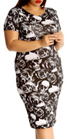Womens Plus Size Ladies Curve Skull Rose Gothic Rock Casual Bodycon Midi Dress