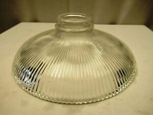 "Vintage Holophane Glass Dish Light Shade Pendant Ribbed Glass Shade Decorative""4"