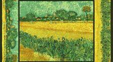 Pre-cut Cotton Fabric Panel Vincent van Gogh Field with Irises Near Arles 1888