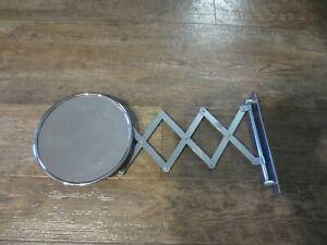Vintage Accordian Scissor Round Mirror Wall Mount Chrome Barber Shaving Antique