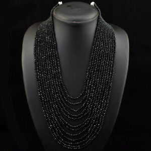 Faceted 450.00 Cts Natural 12 Strand Black Spinel Round Beads Necklace JK 31E189