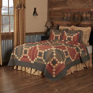 VHC Brands Primitive California King Quilt Tan Patchwork Maisie Bedroom Decor