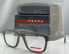 Prada Sport Square Eyeglasses VPS 07G Gray Rubberized Frame UFO-1O1 53mm NEW