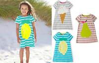 GIRLS NEW EX MINI BODEN SUMMER JERSEY STRIPY LOGO DRESS 2 3 4 5 6 7 YEARS
