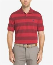 IZOD STRIPED ADVANTAGE PERFORMANCE UPF 15 POLO SHIRT RED MENS LARGE NEW