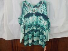 "Juicy Couture Size Lrg-""Lush&Plush""-Tie-Dyed-Grns-Open Shldr-W/Beaded""V""Neck-NWT"