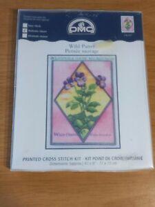 Vintage 2003 DMC Wild Pansy Printed Pink Purple Flowers Garden Cross Stitch Kit