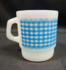 Anchor Hocking Fire King Coffee Mug Gingham Blue Checkered Stacking Cup