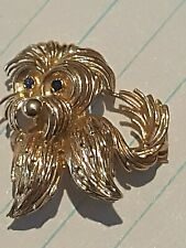 14k Gold Dog Pin Brooch Maltese, Yorkie Terrier Sapphire Compare Price