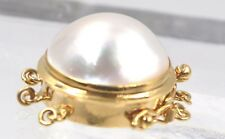 14K SOLID GOLD Yellow Pink Mabe PEARL Clasp 16 mm Large Round 3 Three STRAND NEW