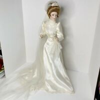 "Franklin Mint Heirloom Doll Gibson Girl Bride 22"" w Original Bouquet"