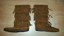 Womens Chestnut MINNETONKA 1632 Triple Fringe Layer Mid-Calf Hippie Boho Boots 8