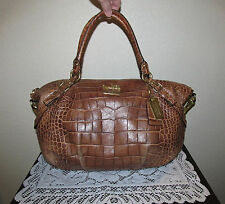 Coach Croc Embossed Leather Madison Sophia Satchel Shoulder Bag LargeBrown 15954