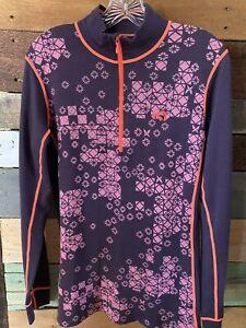 KARI TRAA Base Layer 1/4 Zip Longsleeve Multicolor Wool Blend Pullover, L