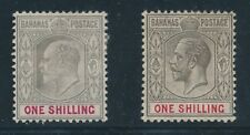 1902 - 1912 Bahamas KING EDWARD VII & KING GEORGE V, #41 & #54, MINT HINGED