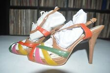 Nine West Tan with Multi Colored Straps Slingback Heels 9 M