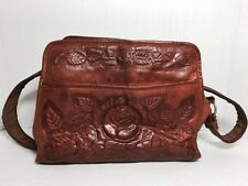 "Vintage Tooled Leather Western Bag Purse W/Roses & Leaves 8"" X 11"" Kj060616"