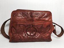 "Vintage Tooled Leather Western Bag Purse W/Roses & Leaves 8"" X 11"" Kj060616"