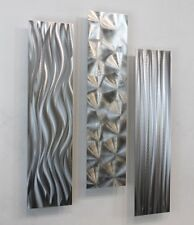 Silver Contemporary Metal Modern Silver Wall Art Sculpture - Driving Force
