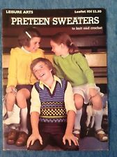 LEISURE ARTS - PRETEEN SWEATERS TO KNIT - 1977 - LIKE NEW - SEE PATTERN PICS