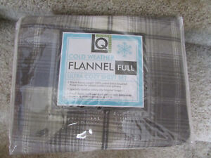 NEW FULL FLANNEL SHEET SET GRAY PLAID FLANNEL LIVING QUARTERS DOUBLE SIZEFLANNEL