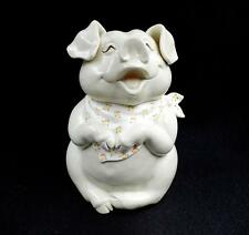 "FITZ AND FLOYD SMILING PIG FLORAL NECKERCHIEF  10"" COOKIE/BISCUIT JAR 1983"