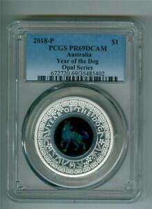 AUSTRALIA 2018-P $1 OPAL YEAR OF THE DOG 1 OZ. .9999 SILVER PCGS PR-69 DCAM