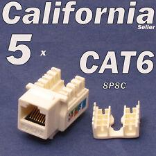 5 Pcs Lot CAT6 Beige Keystone 8P8C RJ45 Network 110 Style Socket Punch Down Jack