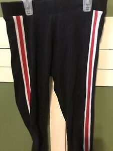 Justice Athletic Pants Black With Red Stripe Size 12