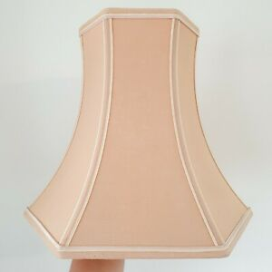Vintage Pink Octagonal Table Lamp Shade with Taped Trim - 29cm Tall