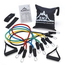 Black Mountain Products Resistance Band Set with Door Anchor, Ankle Strap,