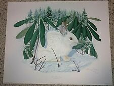New Listing1983 Thomas J. Allen Snowshoe Hare Signed Print American Mammal Series Plate 3